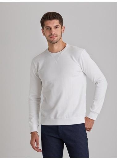 Dufy A. Bısıklet Yaka Düz Erkek Sweatshirt - Slim Fit Beyaz